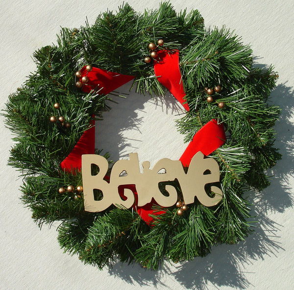 BELIEVE Christmas Yuletide Wreath with Golden Berries