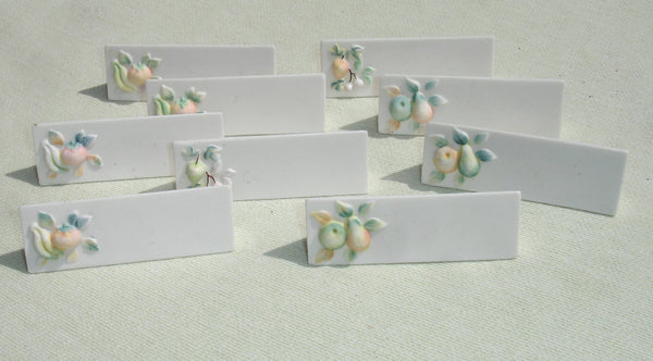 Vintage Porcelain Name Plates with Fruit Decorations - 9 pcs