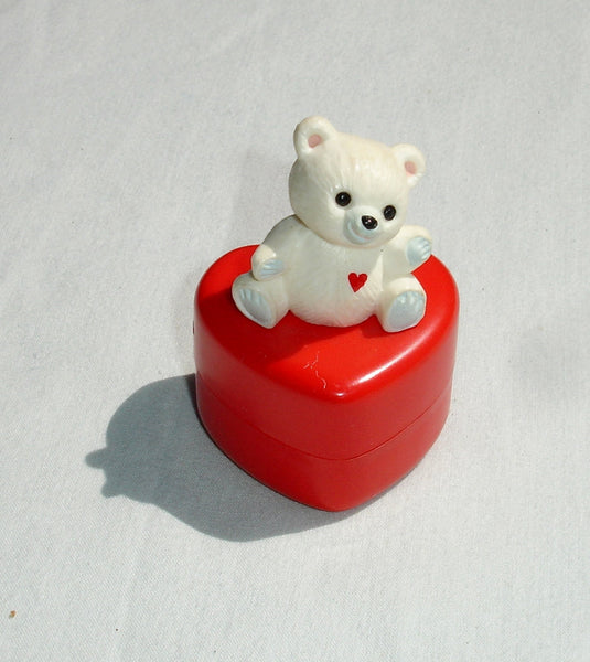 1984 White Teddy Bear on Red Heart Miniature - Valentine's Day or Wedding Collectible