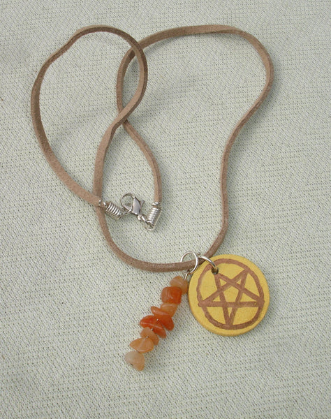 handmade wiccan pagan pentagram necklace
