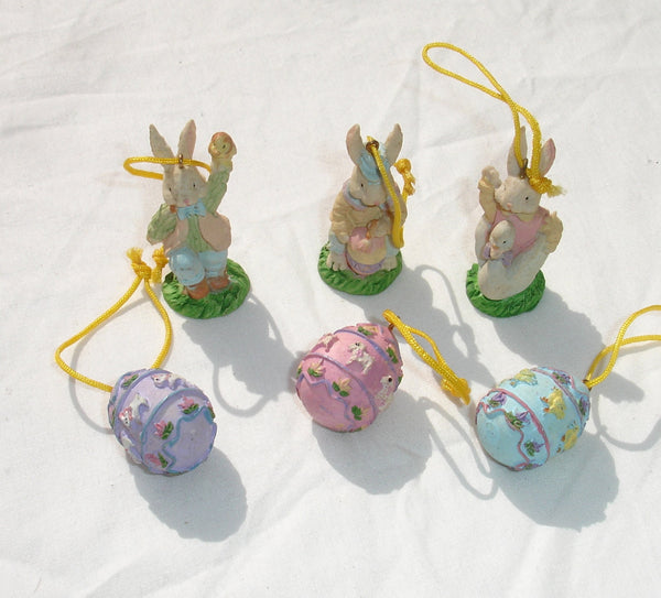Easter Bunnies & Eggs Polyresin Ornament Set - 6 pcs