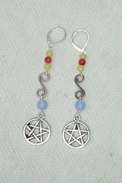 Long Colorful Gemstone Beaded Pentagram Dangle Earrings