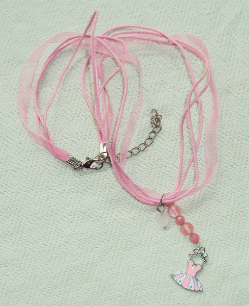 handmade Child's Pink Gemstone Ballerina Necklace