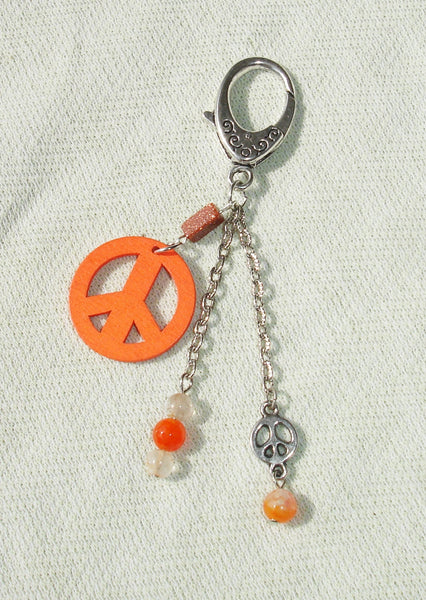 Orange Peace Sign Gemstone Beaded Key Ring or Purse Charm