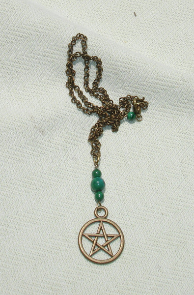 handmade wiccan pagan Child's Green Gemstone Pentagram Dangle Necklace