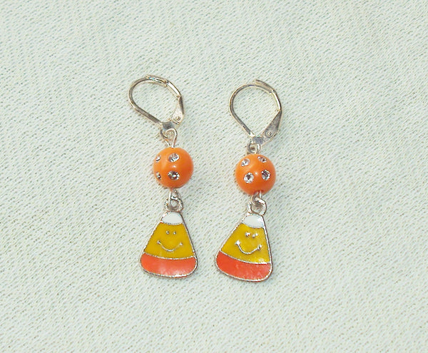 handmade Dangle Candy Corn Halloween Post Earrings