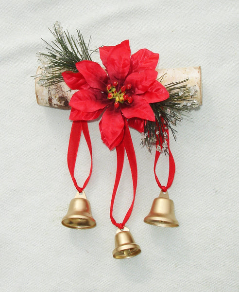 Decorative Yule Log with Bells - Handmade Wall Hanging Decor