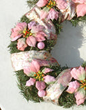 Pink Poinsettia Christmas Yuletide Pine Wreath