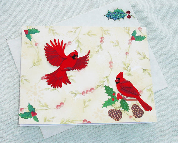 Cardinal Christmas or Yule Handmade Card - Handmade holiday christmas Cards