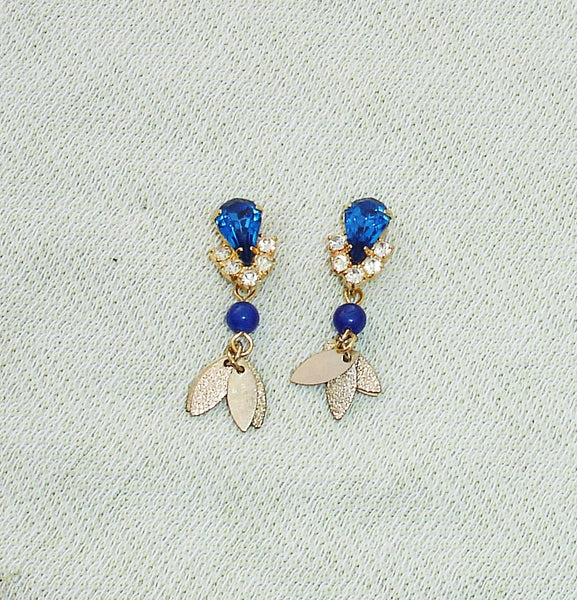 Upcycled Blue Rhinestone & Gemstone Post Dangle Earrings
