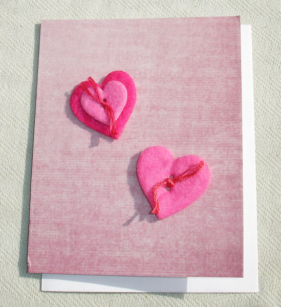 Felt Sewn Button Love Handmade Greeting Card - OOAK - Valentine's Day Gift - Blank Inside