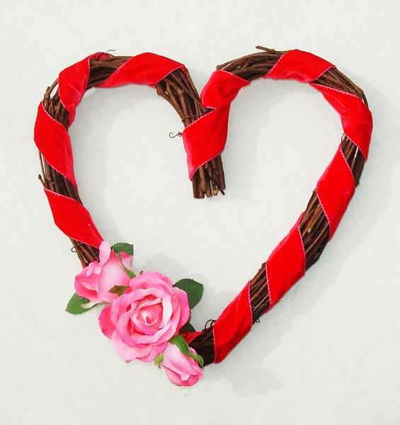 Heart Shaped Wreath - Valentine's Day or Wedding Decor