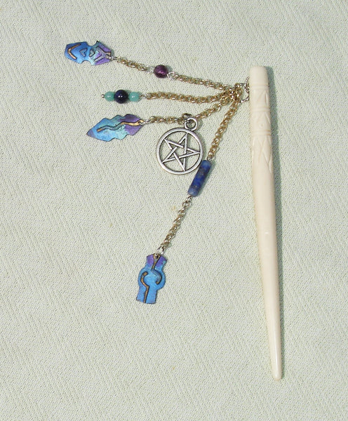 handmade wiccan pagan Buffalo Bone Pentagram Gemstone Hair Stick