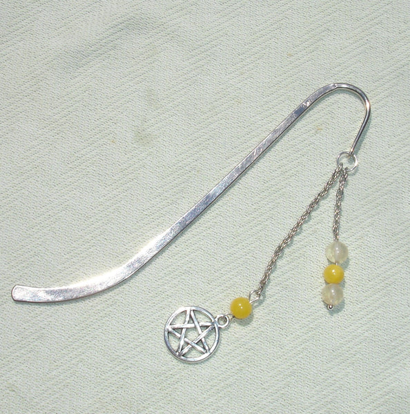 Silver Wiccan Pentagram Beaded Hair Stick - Bookmark Hair Accessory