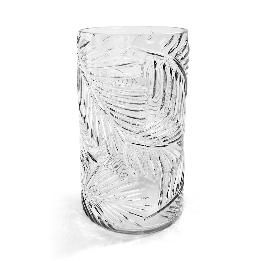 Embossed Leaves Cylinder Vase