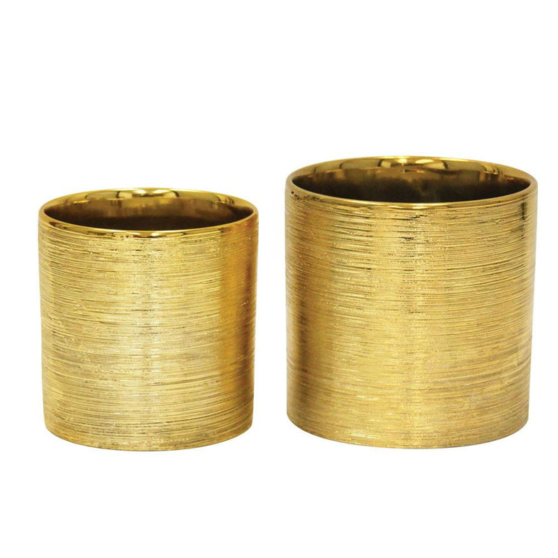 Etched Metallic Gold Cylinders