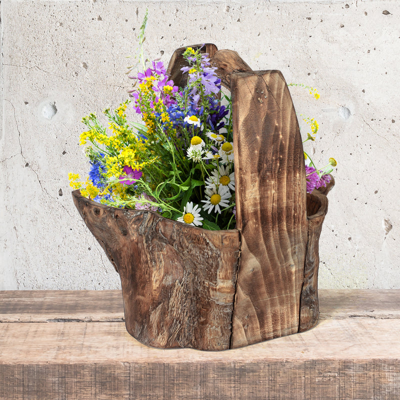 Wood Basket Planter