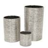 Etched Metallic Silver Cylinders