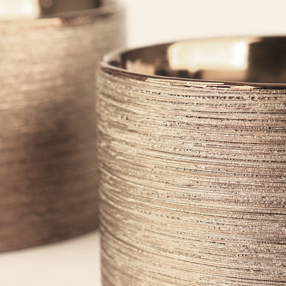 Etched Metallic Copper Cylinders