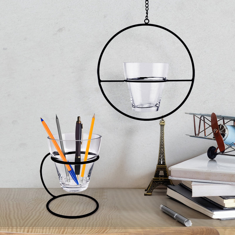 Hanging Ring and Stand Glass Planter