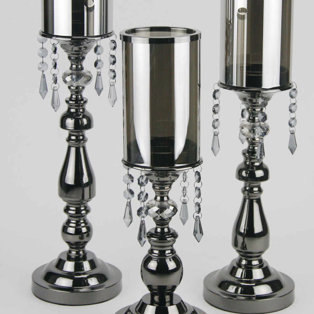Pearlized Black Candlestick with Premium Crystals
