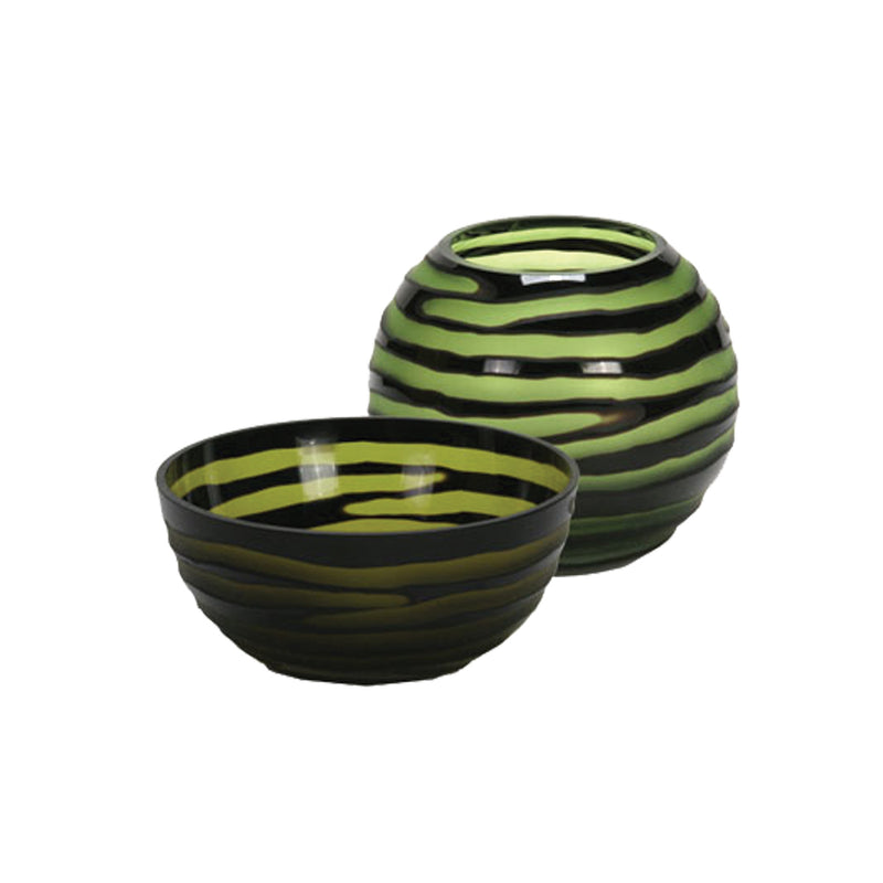 Green Striped Bubble Bowl