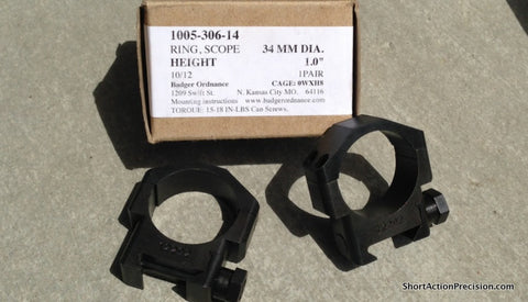 Badger 34mm Scope Rings Standard 1.0""