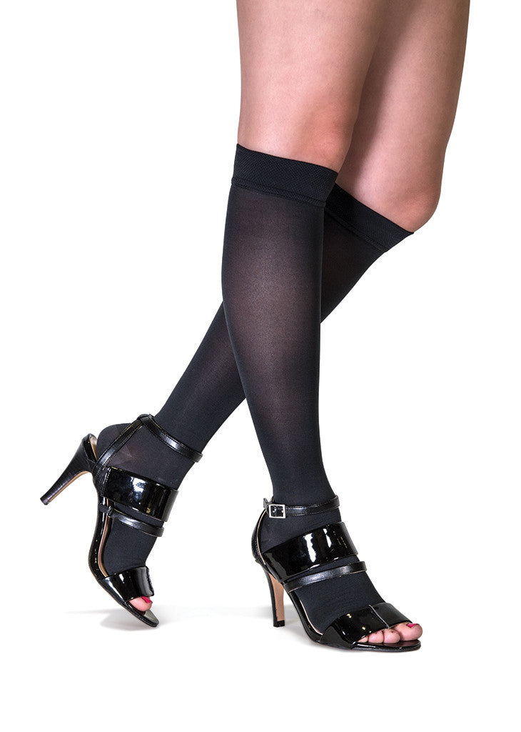 Black Toeless Knee-High Compression Hosiery