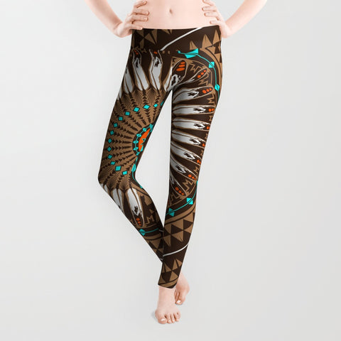 Native American Leggings Yoga Pants by Melvin War Eagle