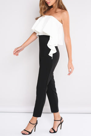 COLOR BLOCK RUFFLE STRAPLESS JUMPSUIT