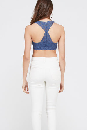 FLORAL LACE SCALLOP EDGE STRAP RACERBACK PADDED BRALETTE