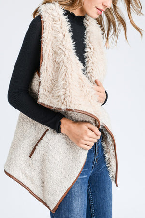Fur Collared Draped Open Front Sherpa Vest