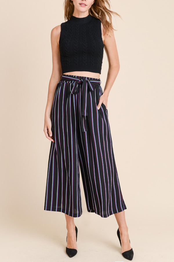 Stripe Wide Leg Paperbag Self-Tie Pants