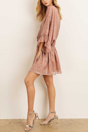 V NECK MINI METALLIC DRESS RUFFLE SLEEVE