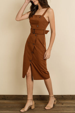 PINSTRIPE BUTTON-FRONT MIDI DRESS