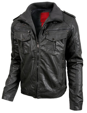 PREMIUM FAUX LEATHER MOTO JACKET NEMJ08
