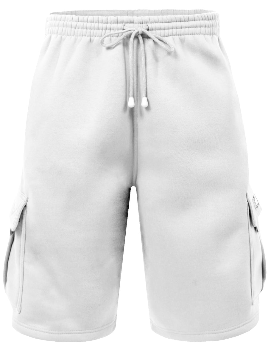 ELASTIC DRAWSTRING FLEECE CARGO SWEAT SHORTS NEMP07