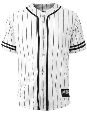 PLAIN SHORT SLEEVE BUTTON DOWN ACTIVE STRIPE BASEBALL JERSEY NEMT28 PLUS