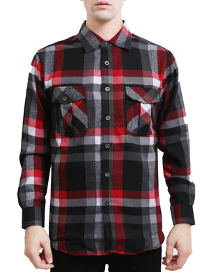 LIGHT WEIGHT LONG SLEEVE PLAID BUTTON DOWN DRESS SHIRTS NEMT41
