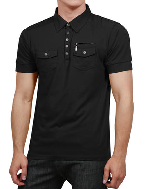 CASUAL SOLID SHORT SLEEVE DOUBLE POCKET POLO SHIRTS NEMT77