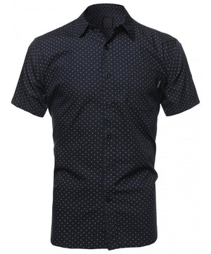 CASUAL DRESS SOLID SHORT SLEEVE FITTED BUTTON DOWN OXFORD SHIRTS NEMT8002 PLUS