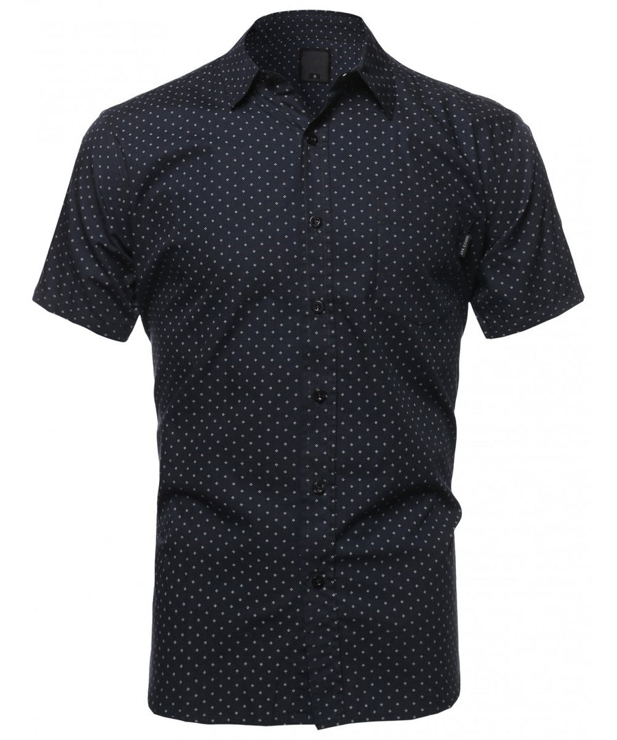 CASUAL DRESS SOLID SHORT SLEEVE FITTED BUTTON DOWN OXFORD SHIRTS NEMT8002