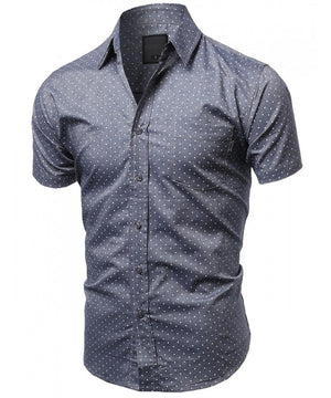 CASUAL DRESS SOLID SHORT SLEEVE FITTED BUTTON DOWN OXFORD SHIRTS NEMT8003