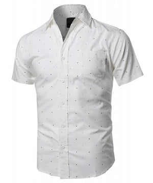 CASUAL DRESS SOLID SHORT SLEEVE FITTED BUTTON DOWN OXFORD SHIRTS NEMT803
