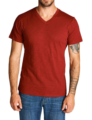 BASIC WIGHT V-NECK LINE SHORT SLEEVE T-SHIRTS NEMT83