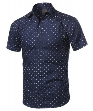 CASUAL DRESS SOLID SHORT SLEEVE FITTED BUTTON DOWN OXFORD SHIRTS NEMT8401 PLUS