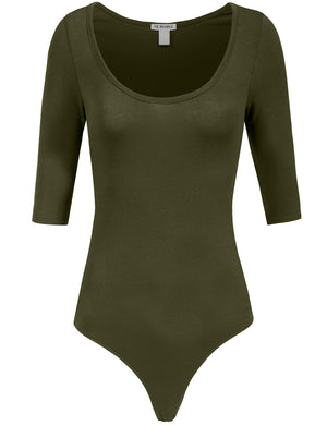 FITTED SEXY ELBOW SLEEVE BASIC BODY SUIT NEWBS24