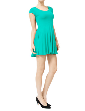 CASUAL SHORT SLEEVE SKATER DRESS NEWDR10