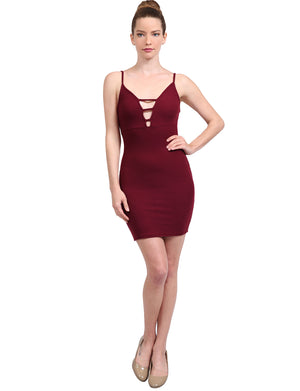 RIBBED KNIT CAMI LADDER CUT OUT SEXY BODYCON MINI DRESS NEWDR116