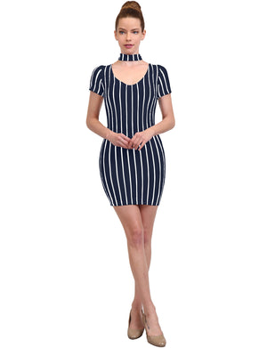 SEXY BODYCON CHOKER NECK STRIPED SHORT SLEEVE MIDI DRESS NEWDR200